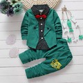 Spring Autumn Baby Boy Clothing Sets children Bow tie T-shirts+ pants kids cotton cardigan two piece suit Tracksuit set