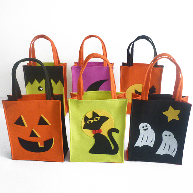 Diy Halloween Trick Or Treat Bags.Us 3 07 Mayitr 1pc Colorful Halloween Trick Or Treat Bags Pumpkin Cat Ghost Pattern Kids Gift Bags With Handle Carnival Candy Tote Bags In Party Diy