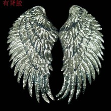 1pair sequins wing patches 19*35CM iron-on type silver embroidery applique for clothing bags