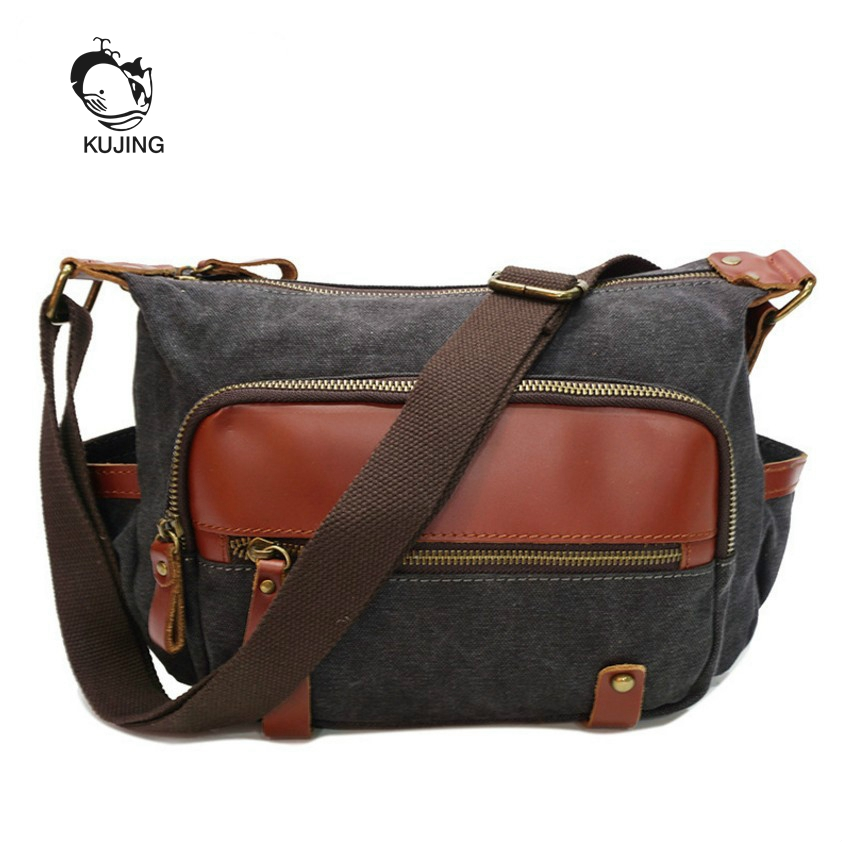 KUJING Fashion Leather Handbag Cloth High Quality Canvas Women's Shoulder Bag Hot Female Messenger Bag Luxury Casual Women Bag