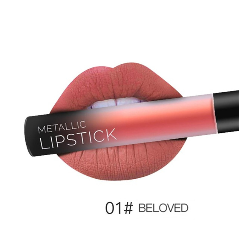 NEW 24 Colors Long Lasting Metallic Lip Gloss Red Velvet Matte Nude Liquid Lipstick Cosmetic Lips Makeup Women Gift Maquiagem 12