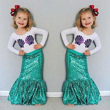 Children Kids Baby Girl Shell Tops T-shirt+Skirts Mermaid 2pcs Outfits Costume