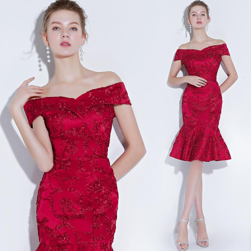 Elengant Off The Shoulder Cocktail Dress Short Mermaid Lace Dress For Graduation Party Dress 2019 Prom Dress  Vestido De Noiva