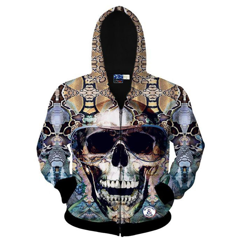 New Hip Hop Style Mens Hoodies Spring 2017 Autumn Thin Coat 3D Printing Large Size Mens Hooded Zipper Cardigan Sweatshirt