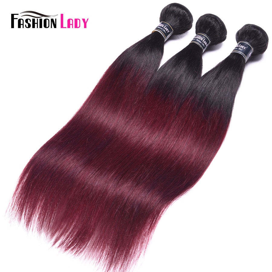 Fashion Lady Per-colored Brazilian Straight Hair 3 Bundles 1b/99j Ombre Human Hair Extensions Non-remy Hair Weave Bundles