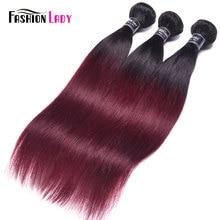 แฟชั่น Lady ต่อ สีผมตรงบราซิล 3 กลุ่ม 1B/99j Ombre Human Hair Extensions Non Remy ผมรวมกลุ่ม