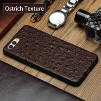 wangcangli Genuine Leather Phone Case For HUAWEI Honor V9 Ostrich Texture Back Cover For Huawei Mate 9 10 Pro P10 P20 Plus Cases