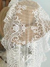 3 Yards Off White Eyelash Chantill Lace Trim for Sewing Craft Supplies Wedding Table Runner  Bouquet Ceremony 37 cm Wide