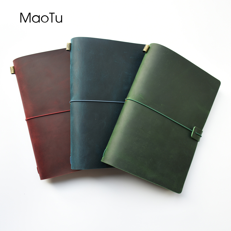 MaoTu Leather Journal Refillable Travel Notebook Hand-Crafted Genuine Leather Diary Free Initials Engrave