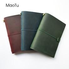 MaoTu dziennik skórzany wielokrotnego napełniania notatnik podróżny ręcznie robiony pamiętnik z prawdziwej skóry darmowe inicjały wygrawerować