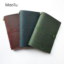 Maotu leather journal 재충전 용 여행용 노트 손으로 만들어진 정품 가죽 일기 무료 이니셜 조각
