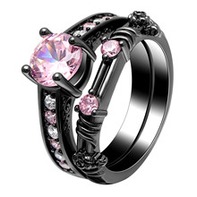 Vnox Round Black Color Bands Rings For Women Men Jewelry 6mm Copper Wedding Engagement Ring Sets US Size 6-10 Anniversary Gifts vnox three tone mix color rings for women love hope faith wedding band ring