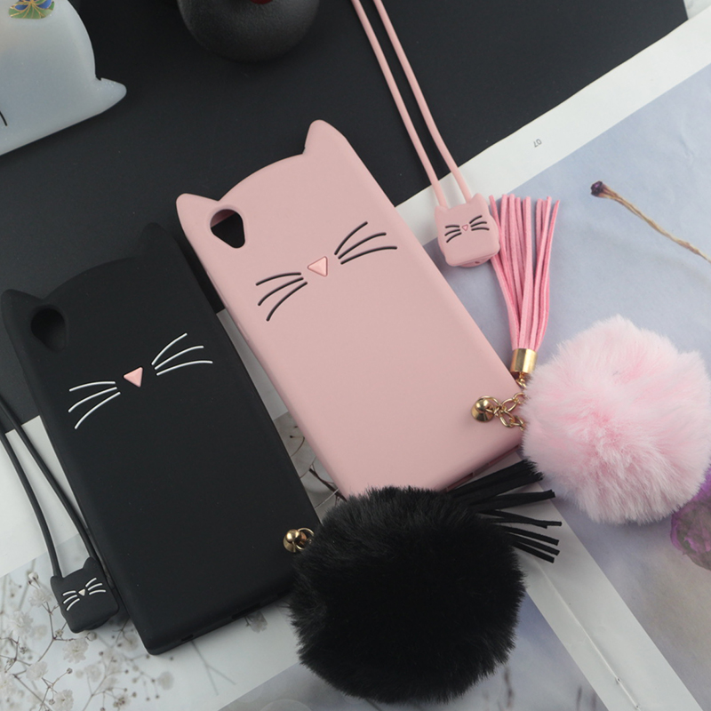 Cute 3D Cartoon Silicon <font><b>Case</b></font> for Sony <font><b>Xperia</b></font> XA1 <font><b>Cases</b></font> Japan Glitter Beard Cat Lovely Ears Kitty Phone Cover XA Ultra image