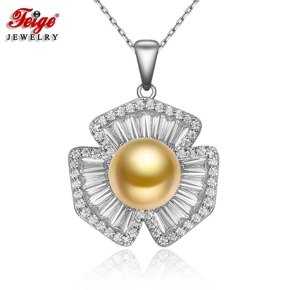 FEIGE De Luxe 925 Sterling Argent Inlay Cubique Zircon Colliers et Pendentifs pour les Femmes Cadeau 9-10 MM D'eau Douce D'or perle Collier
