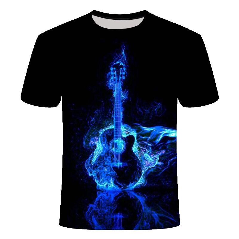 2019 Blue Flame 3D Print T-Shirt Men's T-Shirt Rock Guitar Print Summer Happy Best Music Festival T-Shirt Top T-Shirt Size 6XL