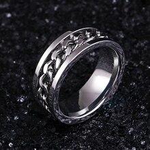 Нержавеющая сталь серебро вращающаяся цепь кольцо стиль панк индивидуальность мужское кольцо мужские ювелирные изделия