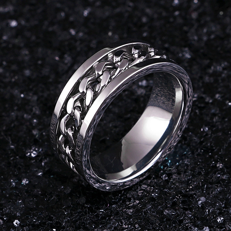 Вращающаяся цепь из нержавеющей стали серебряное кольцо стиль панк индивидуальность мужское кольцо мужские ювелирные изделия