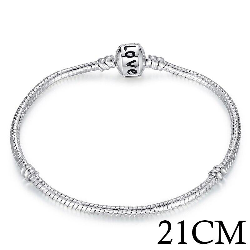 5 стиль 925 серебряных любовь цепи змейки и браслет 16 см- 21 см браслеты омар PA1104 - Окраска металла: 21CM LOVE