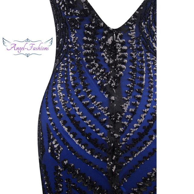Angel-fashions vestido de festa Boat Nect Sequin  Mermaid Long Evening Dress Abendkleid  Black 220