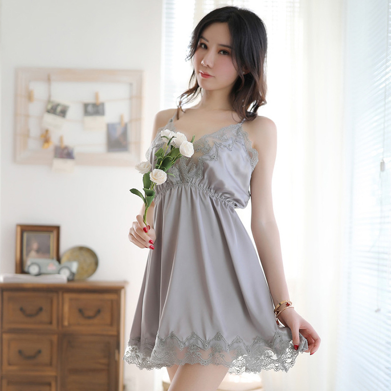 Deep V Lace Babydoll Women Sexy Erotic Lingerie Temptation Straps Nightdress Loose Silky Pajamas Sex Dress for Adult Nightie New in Babydolls Chemises from Novelty Special Use