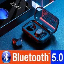 TWS سماعة لاسلكية تعمل بالبلوتوث سماعات اللمس ستيريو بلوتوث 5.0 سماعة الرياضة في الهواء الطلق اللياقة البدنية سماعات للأذن صغيرة واحدة آذان للهواتف