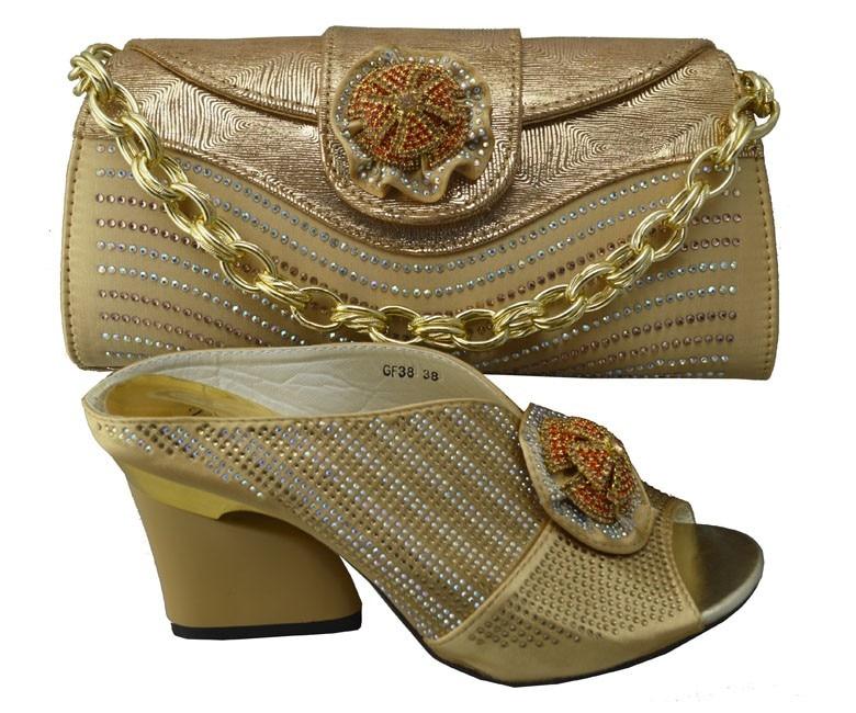 ФОТО Women Sandal Shoes Italian Matching Shoe And Bag Set For Wedding High Quality African Shoes And Matching Bag Set GF38