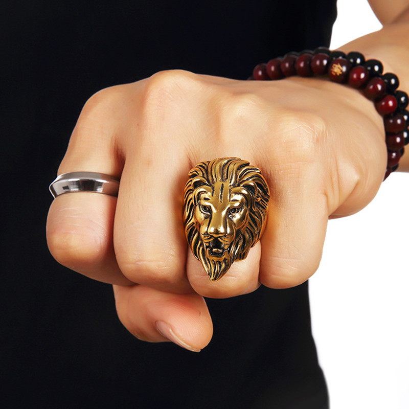 head rc custom biker lion steel rings stainless