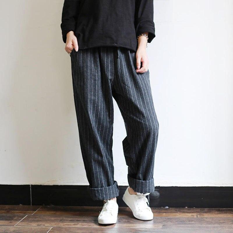 2019 Oversized ZANZEA Women Casual High Elastic Waist Pockets Striped Party Long Harem   Pants   Turnip Pantalon   Wide     Leg   Trousers