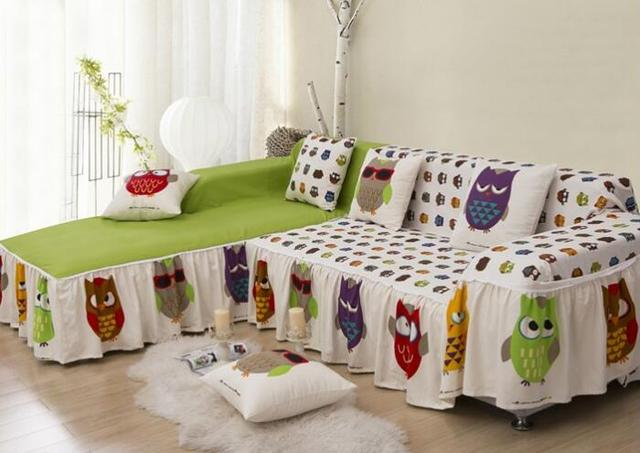 Cotton Owl Printed Sofa Cover Home Textile Double Covers For Couch Sofa  Slipcover 190x200CM/190x260CM