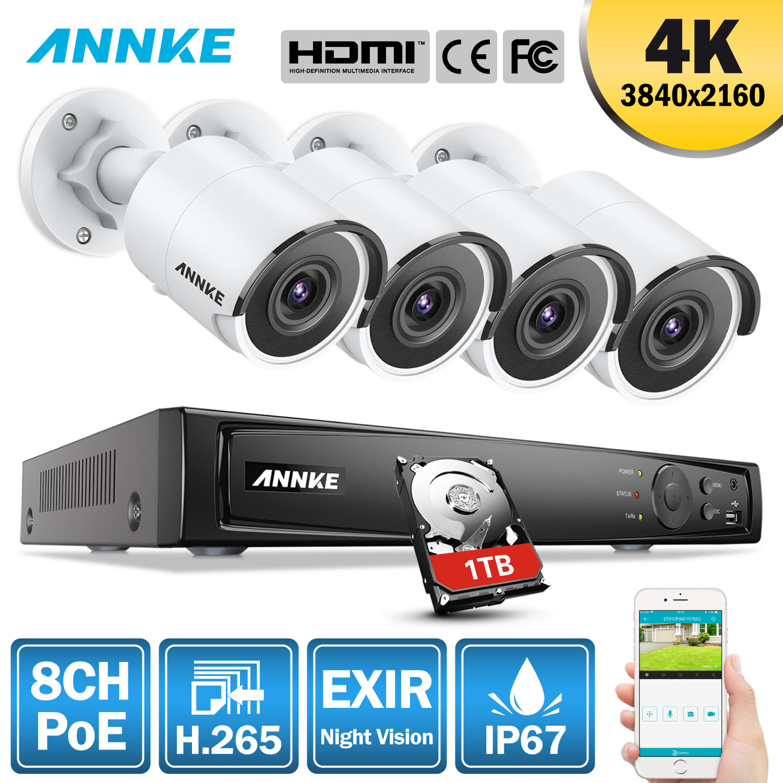 ANNKE 8CH 4 K Ultra HD POE Réseau Vidéo Système de Sécurité 8MP H.265 NVR Avec 4 pièces 8MP Résistant Aux Intempéries Caméra IP Avec 1 TO/2 TB/4 TO de DISQUE DUR