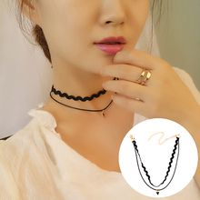 New Arrival Women Retro Double Layer Wave Straight Chain Triangle Pendant Necklace Choker