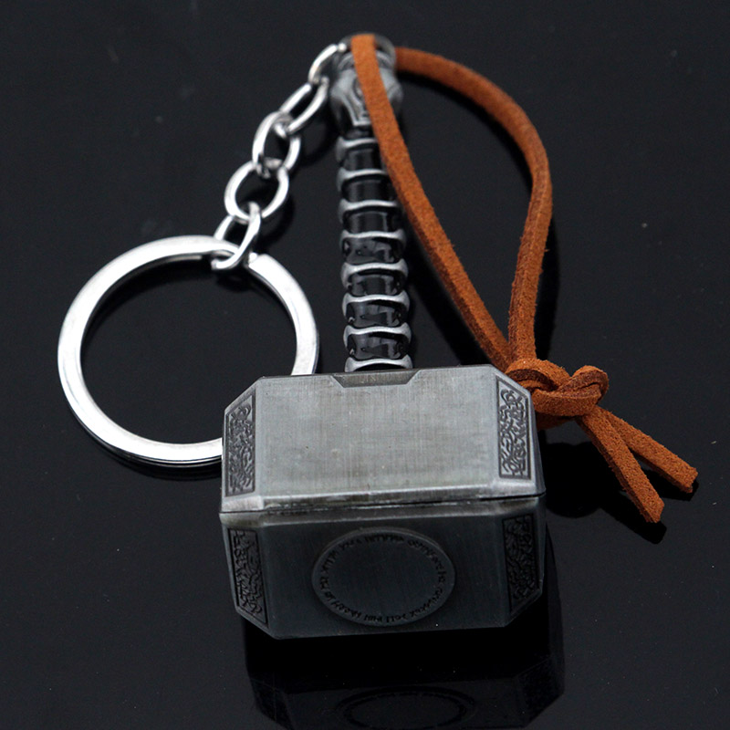 Movie The Avengers Endgame Thor Hammer Keychain Metal Hammer Car Key Holder Keyring Necklace Jewelry Gift