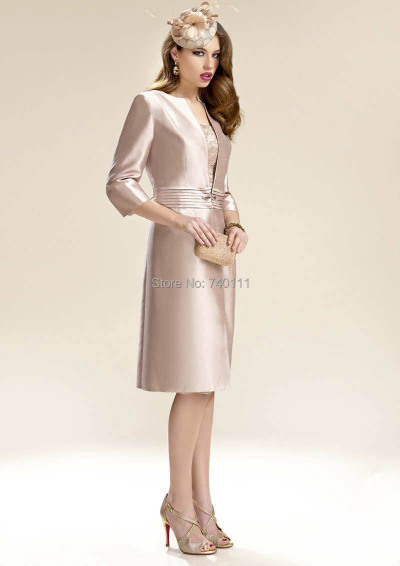 Free Long Coat 3/4 Sleeve Lace Knee Length Sheath Mother Of The ...