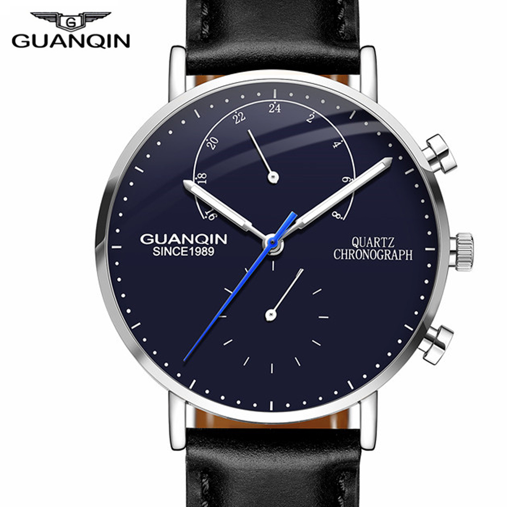 GUANQIN Mens Watches Top Brand Luxury Chronograph Luminous Analog Quartz Watch Men Sport Leather Wrist Watch relogio masculino relogio masculino guanqin mens watches top brand luxury chronograph luminous quartz clock men sport stainless steel wrist watch