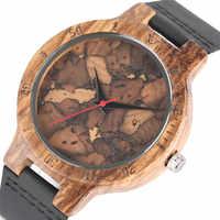 Élégant Les Feuilles Mortes motif visage bois montres pour hommes et femmes Vintage artisanal en bois mâle femelle quarzt-watch cadeau