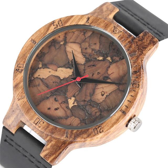 אופנתי Les Feuilles Mortes דפוס פנים עץ שעונים עבור גברים ונשים בציר בעבודת יד עץ זכר נקבה Quarzt שעון מתנה