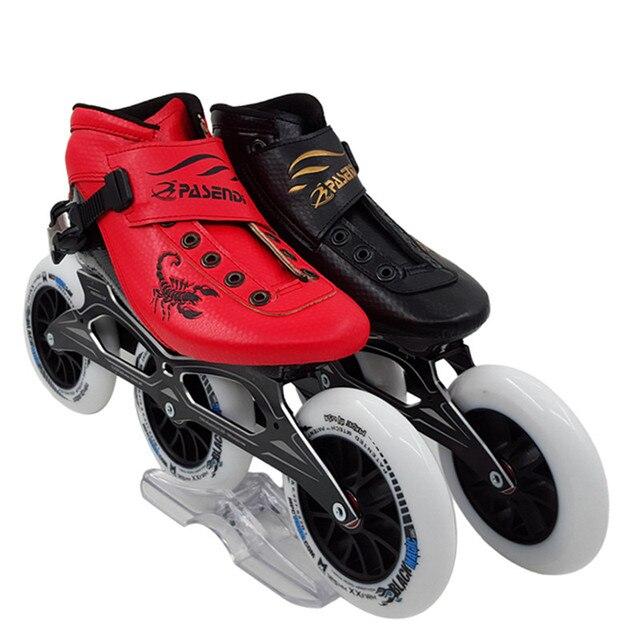 Pasendi fibra de carbono zapatos de patinaje de velocidad profesional  mujeres hombres grandes ruedas patines 1427a92780b