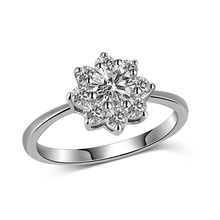 Silikolove 1pcs New Sun Flower Zircon Ring White Gold Hot  Fashion Jewelry Wholesale Dropshipping