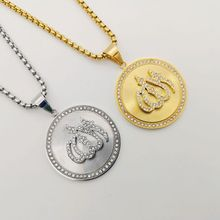 Gold/Silver color rhinestones round Allah pendant necklace Stainless steel Islam Allah medal necklace men women jewelry BLKN0796 недорого