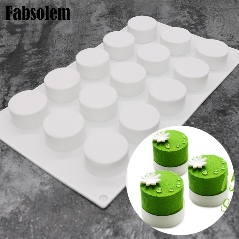 15 Rounds Cylinder Shape Mousse Silicone Cream Mould White
