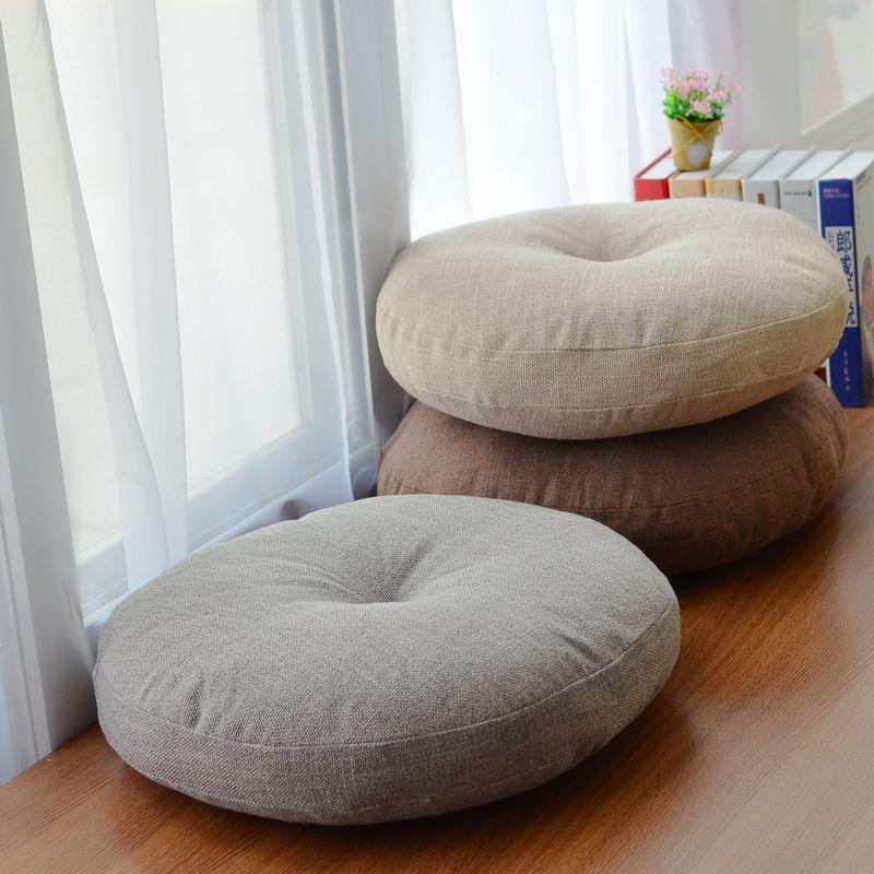 HTB1QSebJ25TBuNjSspcq6znGFXaA Round Shape 2 Size Cotton Linen Seat Cushion Silk Cotton Core Tatami Cushion Pillow Home Decoration Soft Car Sofa Cushion