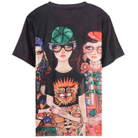 Harajuku Three Girls Print Black T Shirts Women Spring Summer Short Sleeve O Neck Tee Shirts