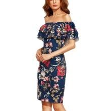 ФОТО summer dress clothes women short sleeve multicolor floral print off the shoulder ruffle sheath dresses
