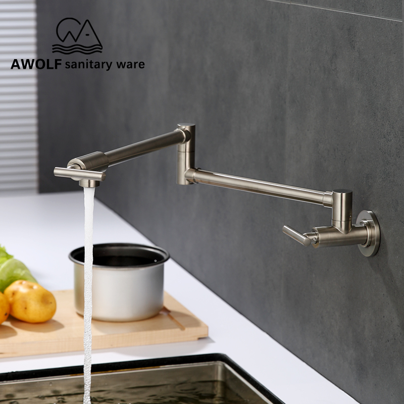 Kitchen Sink Faucet Pot Filler Tap 100 Solid Brass Floding Chrome Nickel Single Cold Swinging Spout