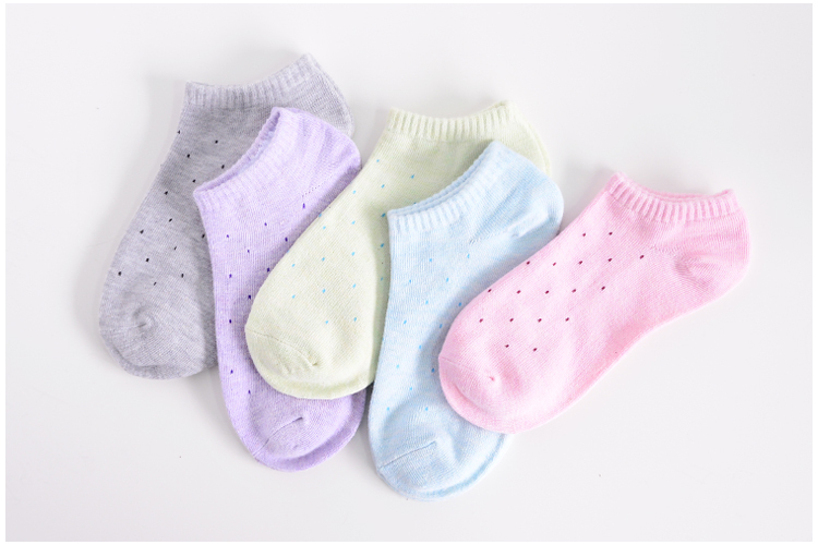 Hot sale!1lot=10pcs=5pair cotton socks cute polka dot women socks soft candy invisible short socks hosiery female Wholesale 9