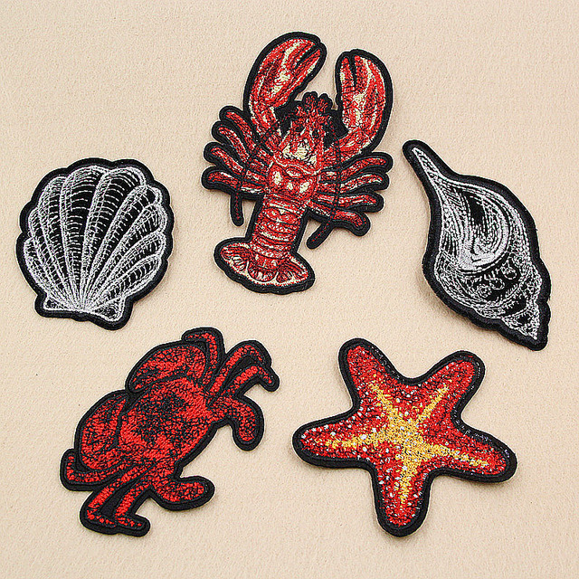 Ocean Series Lobster Shell Pattern Patches Embroidery Iron on Parches for Clothing  DIY Animals Crab Clothes 34f51b3eeed8
