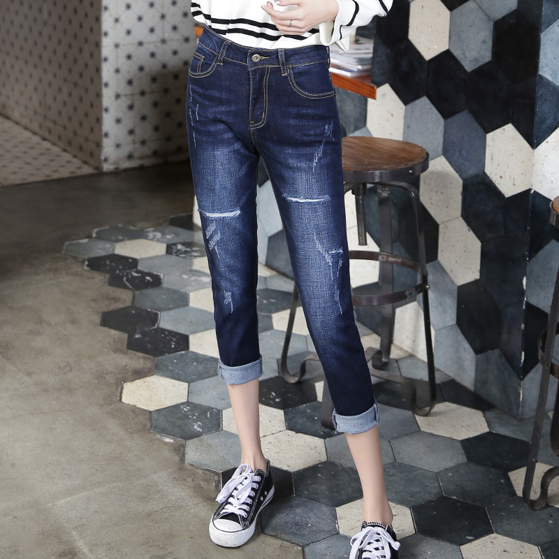 2017 Women Ripped Jeans Women High Waist jeans Women Loose Harem Pants Ankle Length Denim Trousers Plus Size 6209 loose ankle length jeans for women 2017 new vintage distressed high waist ripped denim harem pants woman trousers plus size