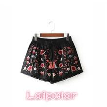 Summer women Hot  shorts lady high waist sexy vintage embroidery floral print mini elegant ripped split