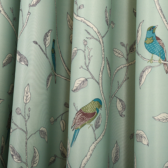 Traditional Turquoise Birds Thermal Insulated Blackout Curtain For Living Room Bedroom Children Princess Baby