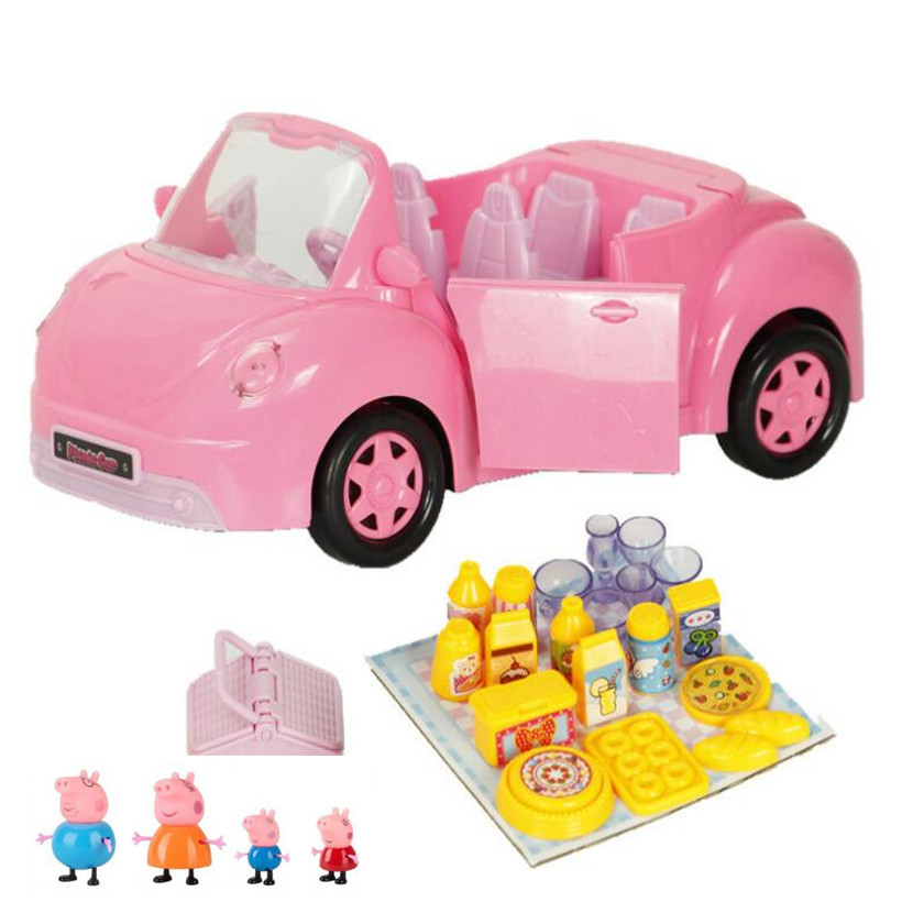 Peppa Pig Fashion Sports Car Family Full Roles Original Doll Action Figure Model For Children Birthday Gifts